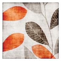 Gray Orange Leaves 1 Fine Art Print