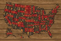 Printers Block US Map Red Fine Art Print