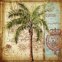 Antique Nautical Palms II Fine Art Print
