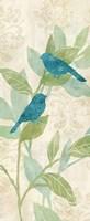 Love Bird Patterns Turquoise Panel I Framed Print