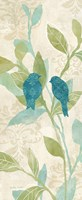 Love Bird Patterns Turquoise Panel II Framed Print