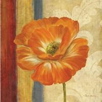Poppy Tapestry Stripes I Framed Print