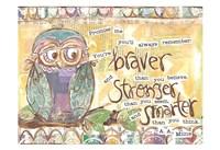 Pastel Owl Family 1 Braver Stronger Smarter Fine Art Print