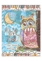 Pastel Owl Family 2 To the Moon and Back Fine Art Print
