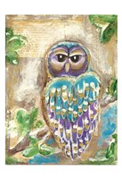 Purple Blue and Gold Owls Fine Art Print