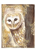 Brown, Cream and Gold Owls 2 Fine Art Print