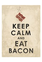 Keep Calm and Eat Bacon (on white) Framed Print