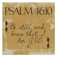 Psalms 46-10 Gold Framed Print