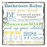Bathroom Rules Multi 1 Framed Print