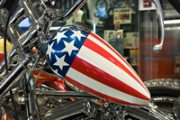 Patriotic Motorcycle with Stars and Stripes Fine Art Print