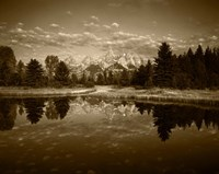 Teton Range and Snake River, Grand Teton National Park, Wyoming (sepia) Framed Print