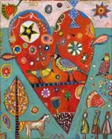 Love Birds Heart Fine Art Print