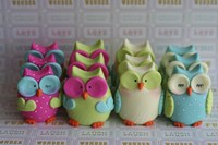 Owls Multi Color Brights Large Set Fine Art Print