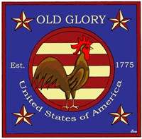 Rooster Old Glory Fine Art Print