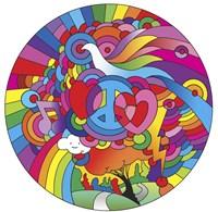 Peace Love Music Circle Framed Print