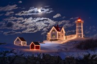 Moon Over Nubble Fine Art Print