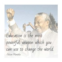 Education is the Most Powerful Weapon - Nelson Mandela Quote Framed Print