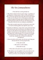 The Ten Commandments - Red Framed Print
