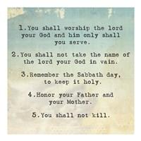 Ten Commandments 1-5 Fine Art Print