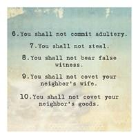 Ten Commandments 6-10 Fine Art Print