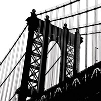 Manhattan Bridge Silhouette (detail) Framed Print