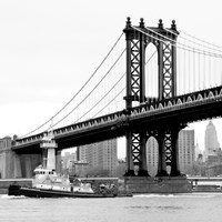 Manhattan Bridge with Tug Boat (b/w) Fine Art Print