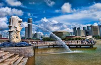 Symbol of Singapore and Downtown Skyline in Fullerton area, Clarke Quay, Merlion Fine Art Print