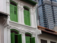 Modern Buildings and Older Ones in Singapore Fine Art Print