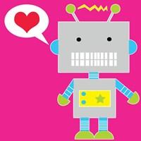 Robot - Pink Framed Print