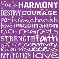 Hope Harmony Destiny - Purple Framed Print