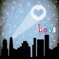 Love Skyline Framed Print