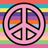 Peace - Pink on Stripes Fine Art Print