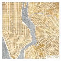 Gilded New York  Map Fine Art Print