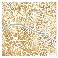 Gilded Paris Map Fine Art Print