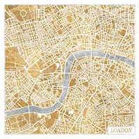 Gilded London Map Fine Art Print