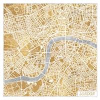 Gilded London Map Fine Art Print