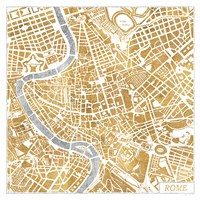 Gilded Rome Map Fine Art Print