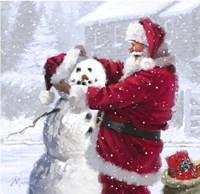 Santa And Snowman 1 Fine Art Print
