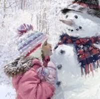 Girl With Snowman 2 Fine Art Print