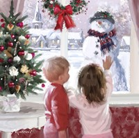 Boy And Girl Looking At Snowman Fine Art Print