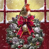 Robin On Wreath Fine Art Print