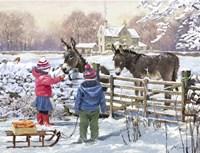 Kids And Donkey Fine Art Print