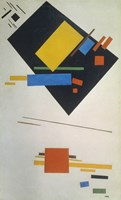 Suprematist painting (with black trapezium and red square), 1915 Fine Art Print