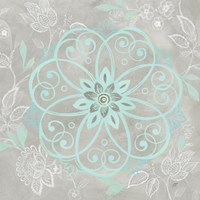Jacobean Damask Blue/Gray I Fine Art Print