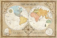 Old World Journey Map Cream Fine Art Print