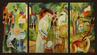 Large Zoological Garden (Triptych) Fine Art Print