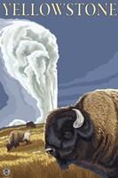 Yellowstone Rams In Field Fine Art Print