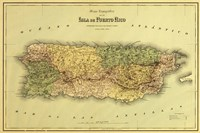 Island of Puerto Rico Map Fine Art Print