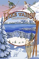 Lake Tahoe Skiiers Ad Framed Print