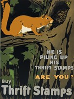 He is Piling up his Thrift Stamps - Are You? Fine Art Print
